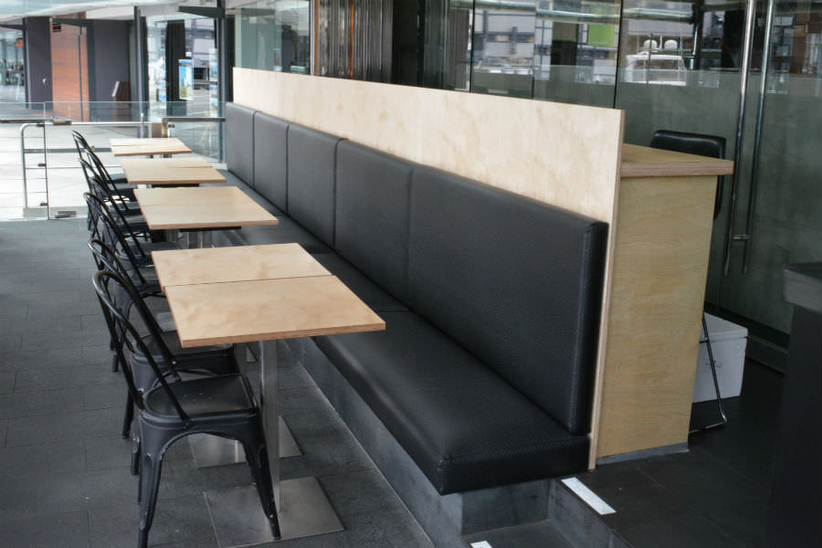 Birch plywood restaurant fit out in Dawes Point. Custom made joinery and cabinet making.