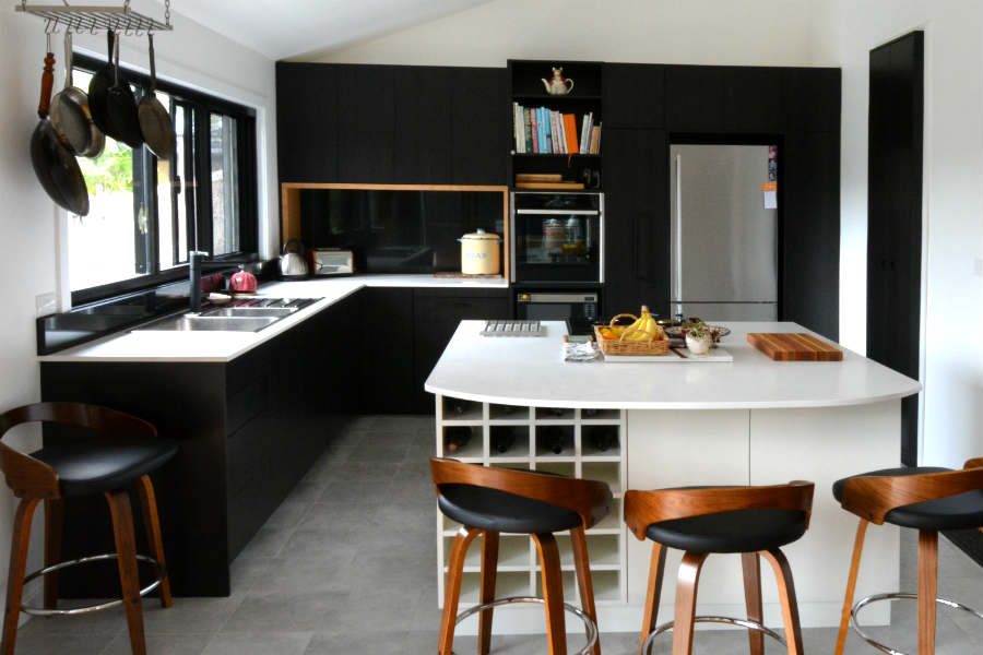 Custom made black kitchen from Frenchs Forest.Custom made joinery and cabinet making.