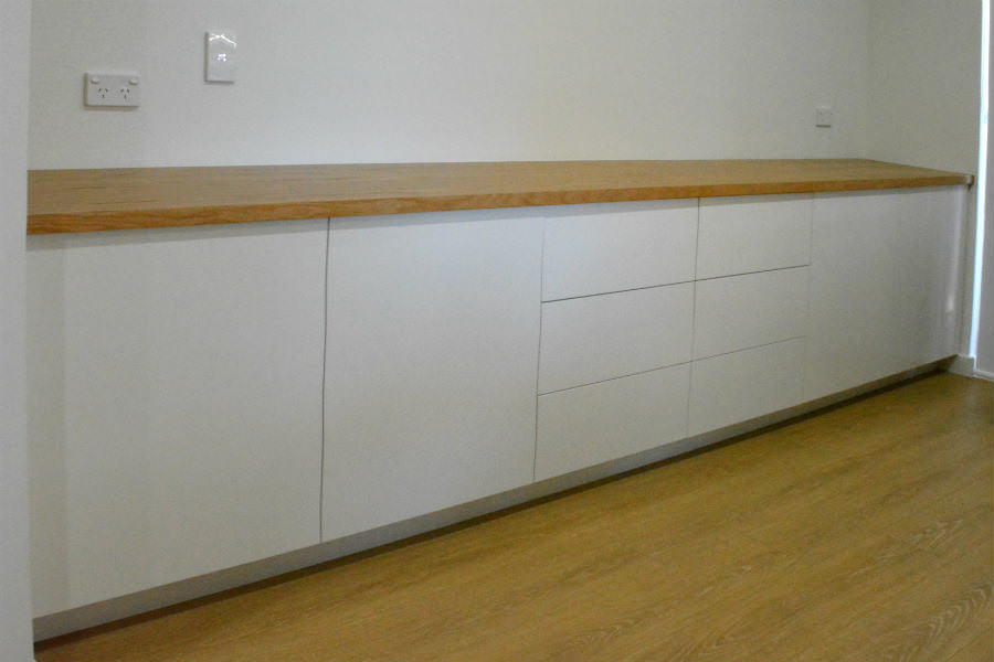 Custom made Buffet Unit With White Oak Top. Custom made joinery and cabinet making.