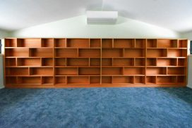 Custom made pacific maple bookcase in Kangaroo Valley. Custom made joinery and cabinet making.