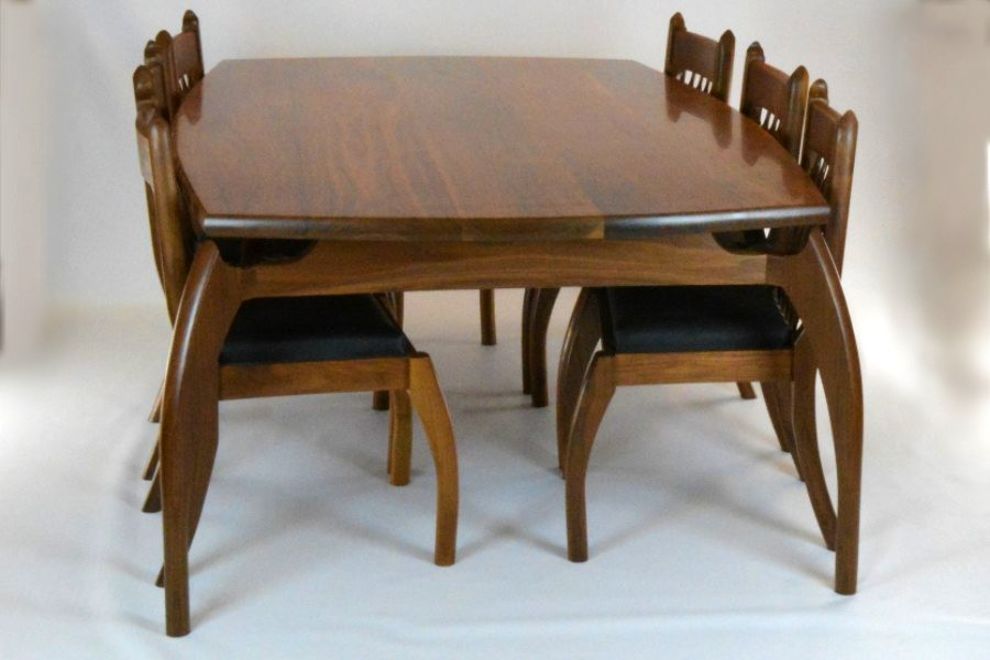 Custom made timber furniture dining table set.