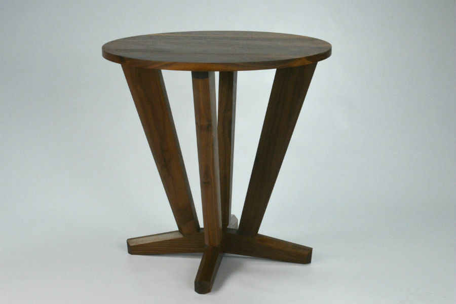Intersection Round Side Table made from Black Walnut to match our round dining table with it's angles and straight line design. This smaller size is handy in just about any living room, can also be used for bedside tables. Custom made timber furniture. Custom made furniture and furniture maker.
