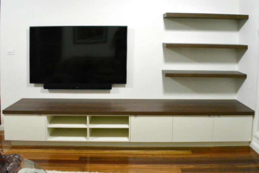 Custom made Av unit with timber top. Custom made joinery and cabinet making.