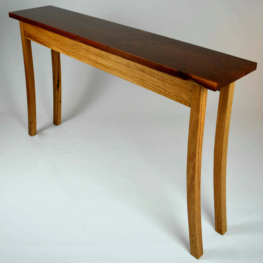 Custom made timber furniture. Custom made furniture and furniture maker. Yellow box hall table.