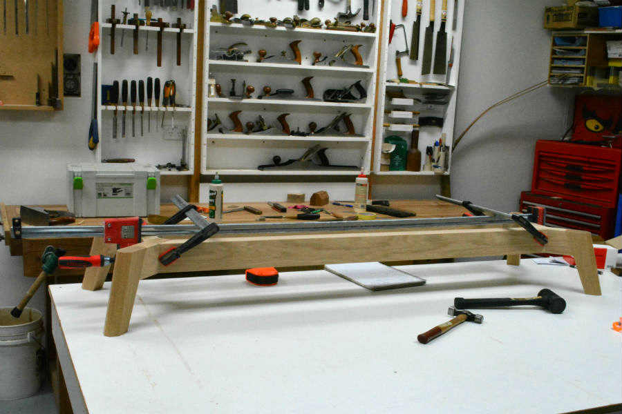 Gluing up a cabinet base. Custom made timber furniture. Custom made furniture and furniture maker.