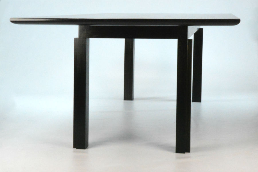 Macintosh Table. Custom made timber furniture. Custom made furniture and furniture maker. Made as a reproduction of the classic Charles Rennie Mackintosh design, stain black with Black Japan on Tassie Oak solid timber. Finished in clear vanish for a hard wearing surface.