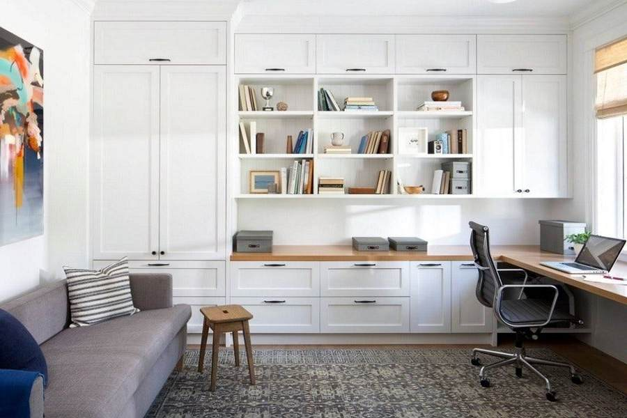 Custom made built-in home office. With shaker style doors and soft close Blum hardware. Custom made timber joinery and cabinet making.