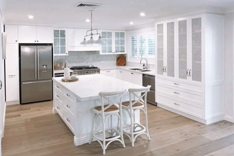 Custom made kitchen in a shaker style. custom made cabinet making and joinery.