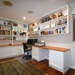 This two-seater home office with built-in bookcases was built for a customer in Pymble with shaker-style doors and timber oak benchtop. Finished in satin white ploy paint with clear satin on the bench top using Blum hinges and draw runner.